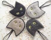 Felt CAT ornaments - Christmas ornaments - cat ornaments - wool felt ornament