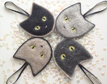 Felt CAT ornaments - Christmas ornaments - cat ornaments - wool felt ornament