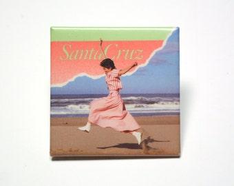 "vintage 80s Santa Cruz pin CA California skater surfer square pinback button 1980 fashion style trend beach ocean 2"" square"