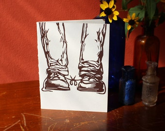 """Funny Letterpress Gay Wedding Congratulations Card: """"Congratulations on tying the knot"""" for two grooms"""