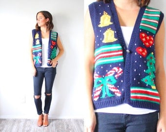 Vintage blue ugly christmas sweater vest // christmas party vest // candy cane Christmas tree // bells hearts holly glitter sweatervest