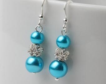 Bridesmaid earrings, Turquoise pearl earrings, Turquoise wedding earrings, Turquoise bridesmaid jewelry, pearl and rhinestone earrings, gift
