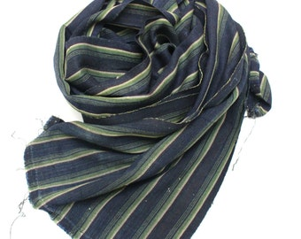 Boro Scarf. Striped Ikat Indigo Cotton. Vintage Japanese Fabric. Hand Loomed Textile. (Ref: 1181)