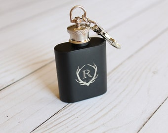 Key Chain Flask Groomsmen Gift Fathers Day Gift Whiskey Flask Antler Engraving Gifts For Him