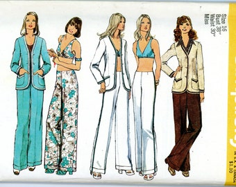 1973 Bra, Hip Hugger Pants, and Cardigan Sewing Pattern 5573, Size 16, Bust 38, Uncut