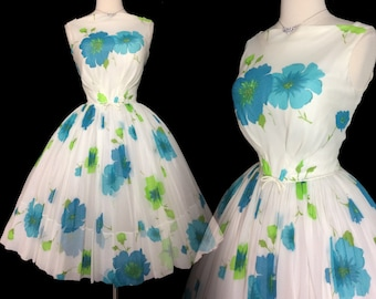 Vintage 1950s Dress | Floral Dress | Full Circle Dress | 1950s Party Dress | 50s Dress |