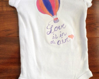Love is in the air hot air balloon with fox baby girl bodysuit