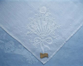 New Linen Hankie with Fan and Flowers Hand Embroidered Unused Vintage Handkerchief with Label