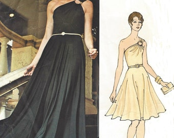 1970s Christian Dior Womens Evening Gown One Shoulder Vogue Sewing Pattern 2957 Size 10 Bust 32 1/2 Vintage Vogue Paris Original