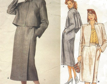 80s Perry Ellis Womens Cropped Swing Jacket & Wrap Skirt Vogue Sewing Pattern 1354 Size 12 Bust 34 UnCut Vintage Vogue American Designer