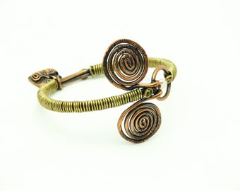 Copper Bangle Spiral Bracelet Brass Wire Wrapped Jewelry Handmade Artisan Bangle Rustic, Bold Oxidized  Metalwork Earthy Jewelry