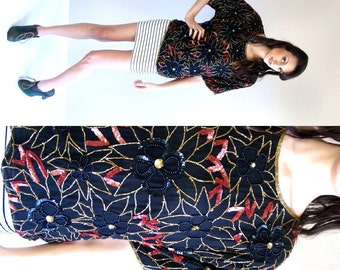 nwt vtg 80s black floral SEQUIN TROPHY beaded BLOUSE os top nye disco deadstock glam holiday cocktail party