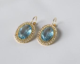 Light Blue Swarovski Crystal Earrings, Sky Blue Earring, Aqua Blue Earrings, Crystal Dangle Earring, Something Blue, Blue Crystal Jewelry