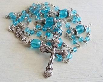 Blue Catholic Rosary, Religious Necklace, Faith Jewelry