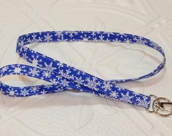 Lanyard - Fabric Lanyard - Badge Holder - Keychain - Key Lanyard - Blue Snowflakes