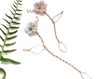 Fairy Garden Flower Pick (1), Ceramic Moss Garden Decor, Terrarium Decoration, Container Garden Lover Gift, USA Artisan Handmade Party Favor