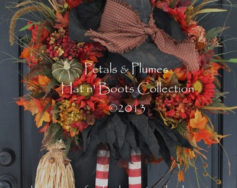 """PRE-ORDER for """"2017"""" Delivery-Halloween Fall Witch Wreath-Primitive Witch Wreath-Petals & Plumes-ORIGINAL Creator of the Character Wreath"""