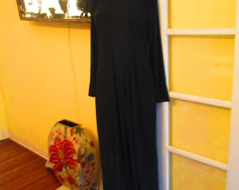 Vintage Black Gown With Rhinestone Collar / Simondona Formal Stunning Gown Small Medium