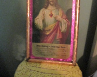 Jesus Litho With Pretty Frame / Art Deco Jesus Christ Picture