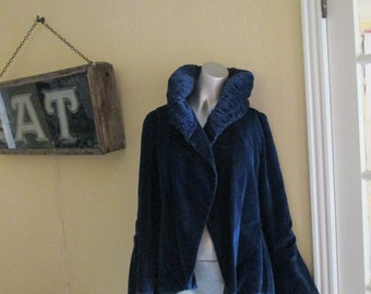 Antique Blue Velvet Jacket With High Pleated Collar / Victorian Royal Blue Dressy Jacket