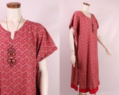 Vintage 70s 80s - Red Ethnic Paisley Floral Print Cotton Caftan Tunic Dress - Hippie New Age Boho Festival