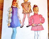 Simplicity 8525 Girls A-Line Dress, Puffed Juliet Sleeves, Ruffle Collar, Vintage 1960s Sewing Pattern Size 7 Chest 26 Neatly Cut Complete