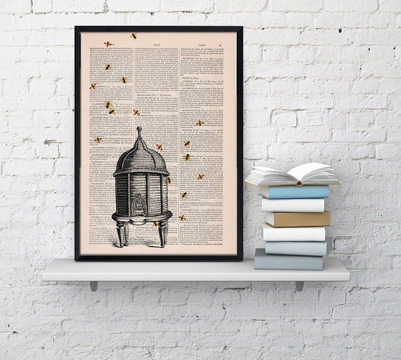 Summer Sale Poster print Bee hive Dictionary art Bumble bee Art Print Wall Art Decor-Bee hive- Wall hanging giclee print BFL029