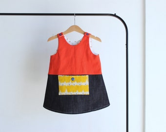 Baby girl jumper dress, size 18-24 months. Cotton denim combo, made in Italy. Ready to ship.