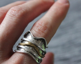 Spring Sale! 40% OFF Spinner Ring, Gold, Silver, Crown, Hand-Forged