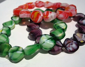 Colored Glass Bead Stretch Bracelets