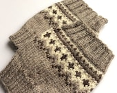 Hand Knitted Patterned Fair Isle Boot Cuffs - Boot Toppers, Leg Warmers - 100% Natural Organic Wool
