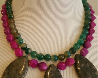 Big, Bold Multistrand Statement Necklace in Shades of Purple and Green with Matching Earrings Included
