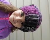 Girl Slouchy Hat, Beanie, Beret, Black Raspberry Grey, Girl Hat, Winter Fall, Crochet
