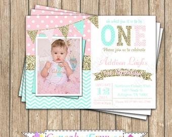 One First Birthday girl coral pink  mint gold PRINTABLE  Invitation #11  chevron polka dot glitter 1st birthday 1031