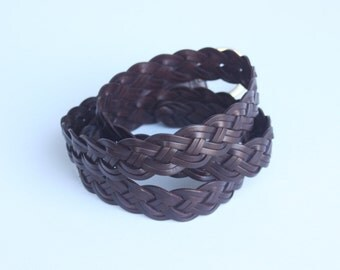 Vintage Woven Brown Leather Belt Size XL