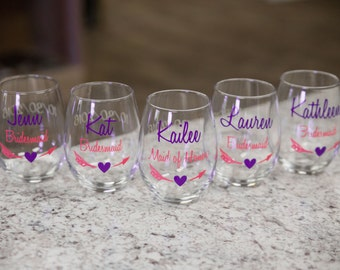 Bridesmaid gift idea, Bridesmaids gifts, Personalized Maid of honor gift. Wedding party gift stemless wine glasses Bridesmaid proposal glass