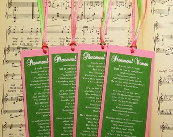 Paper Bookmarks, Book Club Favors, Maya Angelou Bookmark Set, Pink and Green, Set of 4, Phenomenal Woman Poem, Women's Day, Reading Club