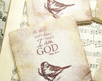 Be Still & Know that I Am GOD Psalm 46:10 Scripture Coasters Set of 4 Christian Gifts