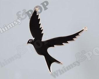 1 - Large Gold Tone Black Peace Dove Connector Charm, Dove Charm, Bird Connector Pendant, 74mm x 75mm x 3mm (R9-095)