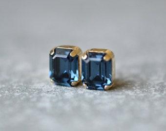 Clear Crystal Diamond Bridal Earrings Bride Swarovski Crystal Diamond Studs Emerald Cut Earrings Super Sparklers Vintage Mashugana