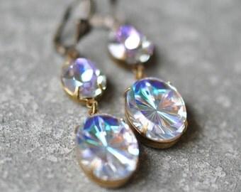 Pastel Rainbow Starburst Earrings Swarovski Crystal Blue Purple Rainbow Vintage Pastel Clear Star Glass Oval Dangle Earrings Mashugana