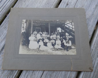 Vintage Family Photograph Black and White Large Family Photo