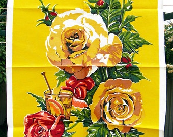 Vintage Tea Towel Yellow with Roses Mid Century Retro Kitsch Towel All Cotton Unused
