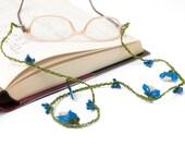 50% OFF Glasses Strap-Blue Crochet Eyeglasses Strap, Tulip Flower Crochet Glasses Chains, Bohemian Jewelry, Crystal Cord, Handmade Accessory