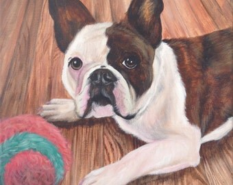 Custom French bulldog painting from photo on canvas hand painted pet portrait art