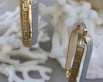 Greek Key Elongated Hoops in Gold n Silver - Gold Filled Earrings