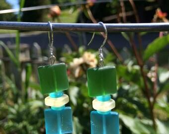 Green and Blue Sea Glass Earrings