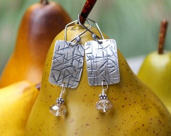 Silver Earrings: Hammered Fine Silver (.999 pure) Organic Rectangle Earrings with Champagne Swarovski Crystal Dangles. Oxidixed. Shabby Chic