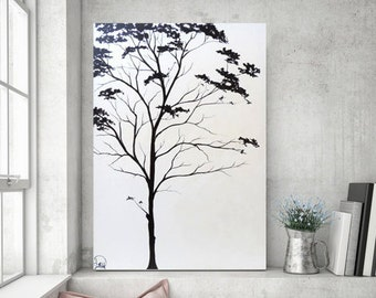 Heather Day Paintings, Tree Painting, Black & White Painting, Original Painting on Canvas, Abstract Painting, Minimalist Art, 36x25