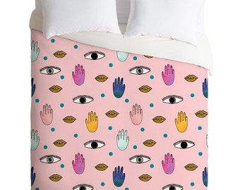 Eyes Hands Mouth Dots pink patterned duvet cover, fun trendy dorm decor bedding set with eyes, Christmas gift idea apartment bedroom decor
